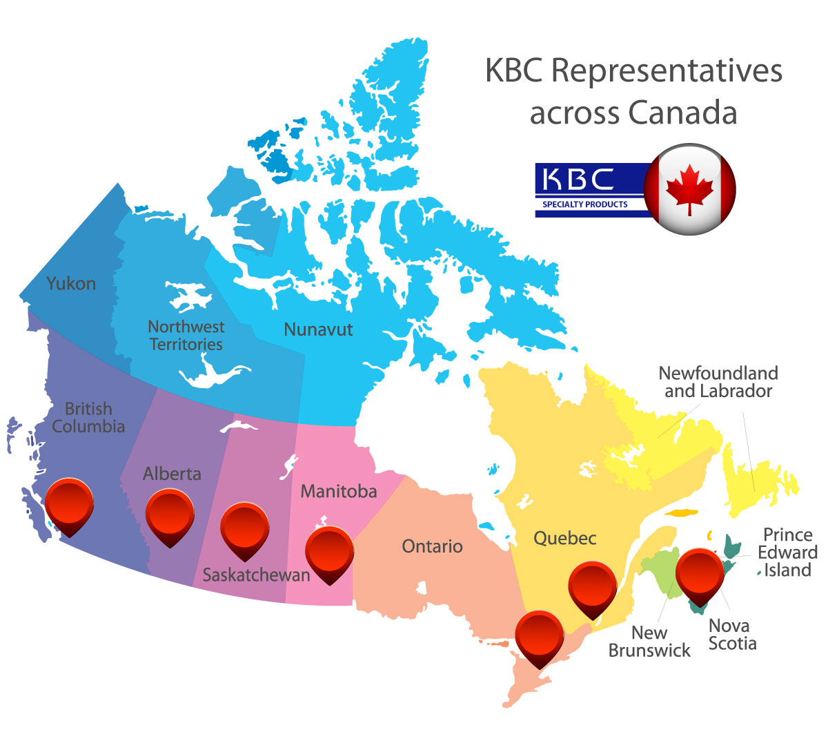 map of KBC Specialty Products service area in Canada